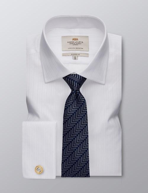 Men's Formal White Classic Fit Shirt - Double Cuff - Easy Iron