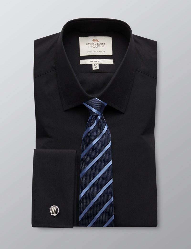 Men's Black Poplin  Classic Fit Business Shirt - Double Cuff - Easy Iron