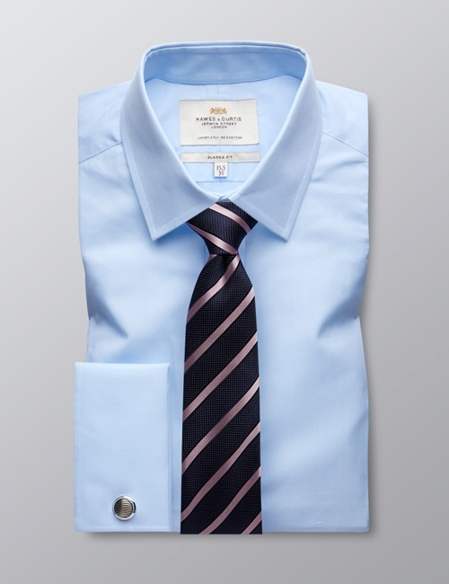 Men's Blue Poplin Classic Fit Dress Shirt - Windsor Collar - French Cuff - Easy Iron