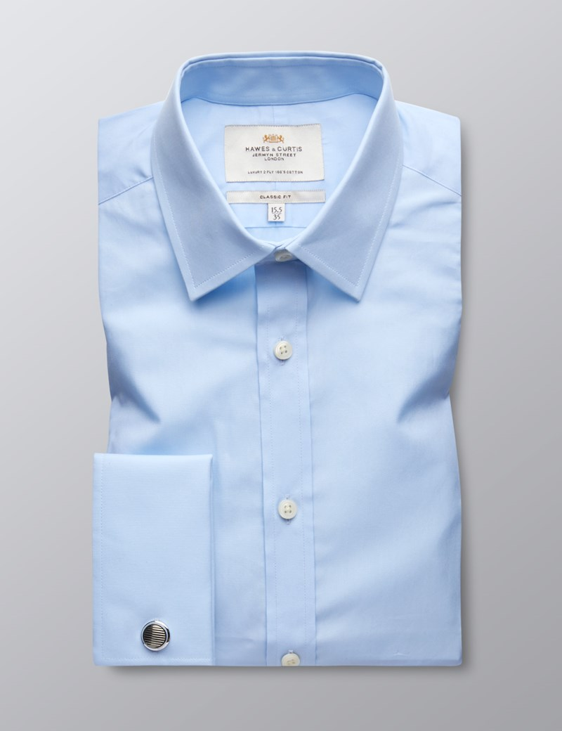 Men's Formal Blue Poplin Classic Fit Shirt - Double Cuff - Easy Iron