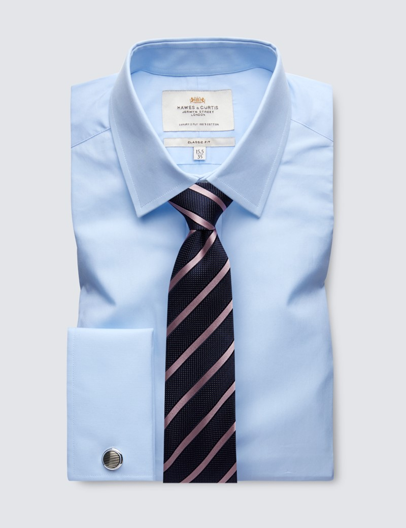 Men's Formal Blue Poplin Classic Fit Shirt - Double Cuff - Easy Iron