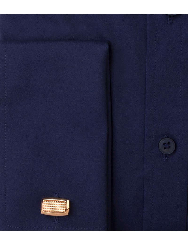 Men's Dress Navy Poplin Classic Fit Shirt - Double Cuff