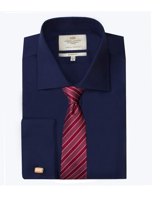 Men's Formal Navy Poplin Classic Fit Shirt - Double Cuff