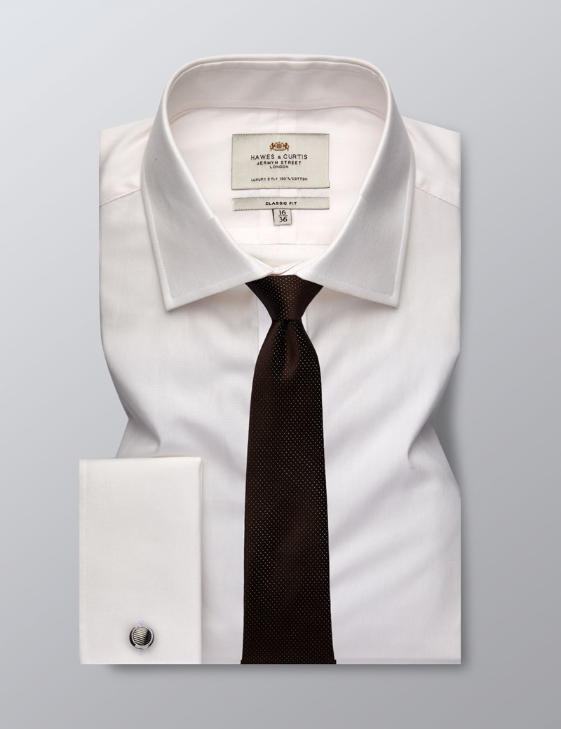Men's Formal Ivory Poplin Classic Fit Shirt - Double Cuff - Easy Iron