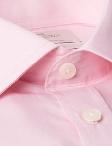 Men's Pink Poplin Classic Fit Business Shirt - Double Cuff - Easy Iron