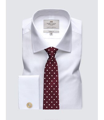 Men's White Poplin Classic Fit Business Shirt - Double Cuff - Easy Iron