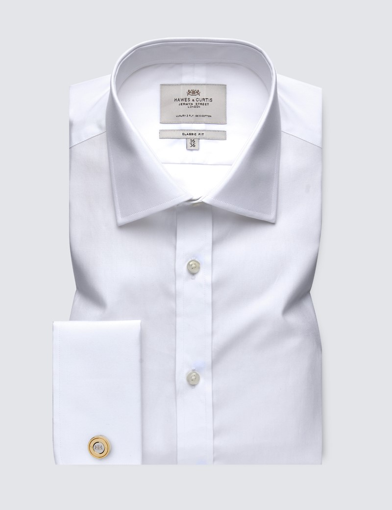 Men's White Poplin Classic Fit Dress Shirt - French Cuff - Easy Iron