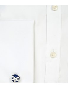 Men's Formal White Poplin Classic Fit Shirt - Double Cuff - Easy Iron