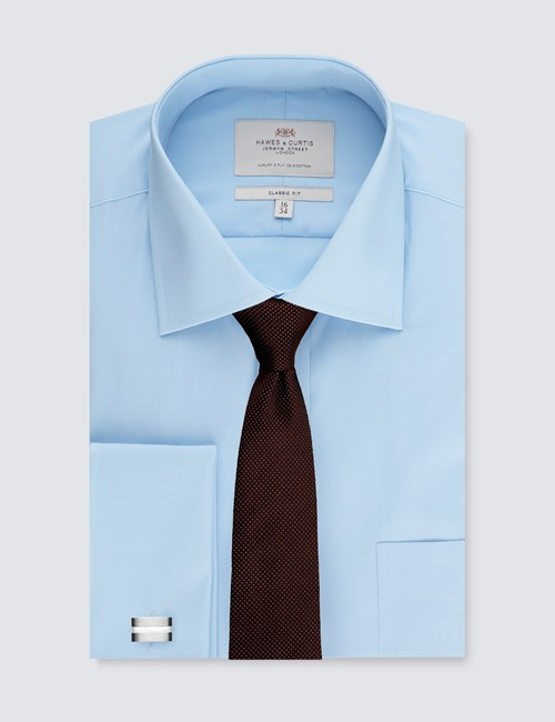 Men's Blue Classic Fit Dress Shirt With Pocket - Single Cuff - Easy Iron