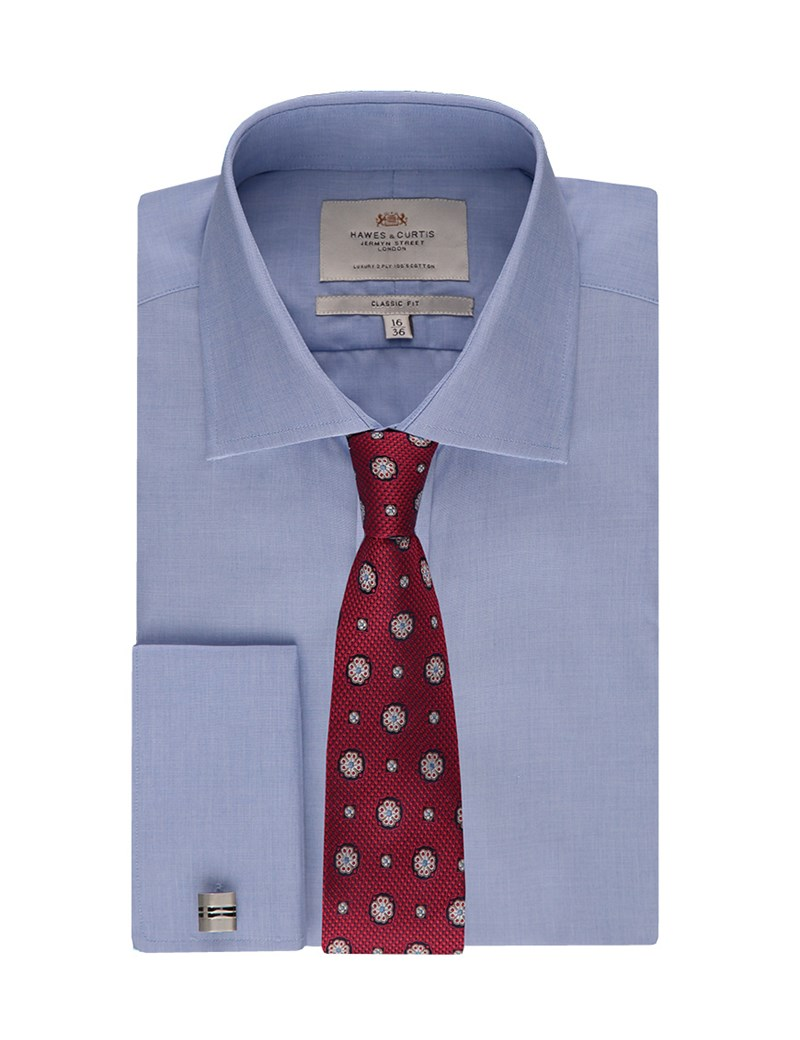 Men's Plain Blue End on End Classic Fit Business Shirt - Double Cuff