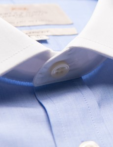 Easy Iron Blue End On End Classic Fit Shirt with White Semi Cutaway Collar & Double Cuffs
