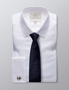Men's White Twill Classic Fit Business Shirt - Double Cuff - Easy Iron