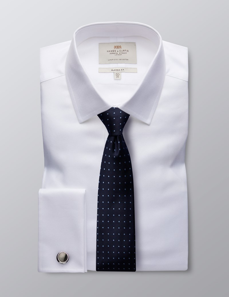Men's Formal White Twill Classic Fit Shirt - Double Cuff - Easy Iron
