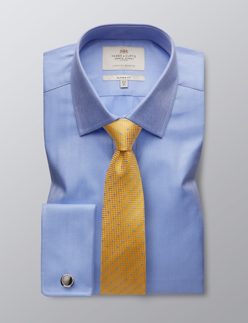 Men's Formal Blue Herringbone Classic Fit Shirt - Double Cuff - Easy Iron