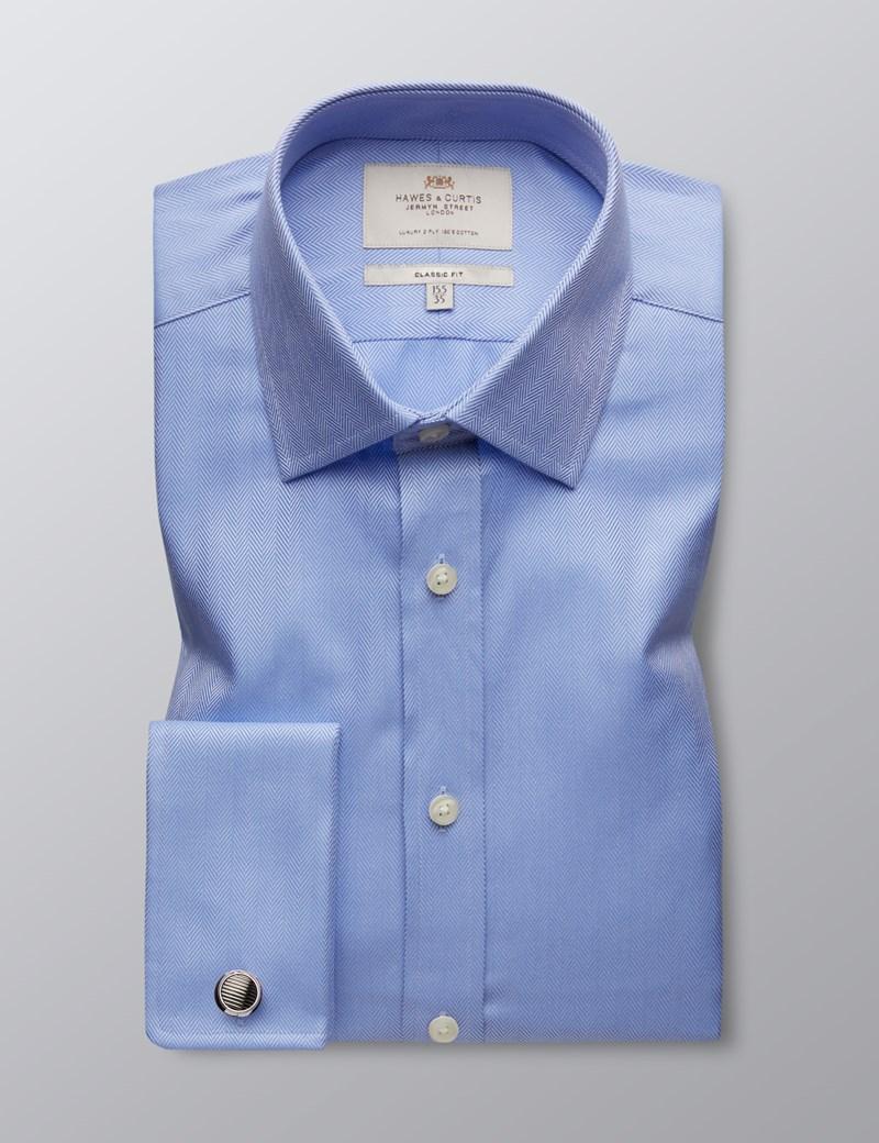 Business Hemd – Classic Fit – Manschetten – Fischgrat blau