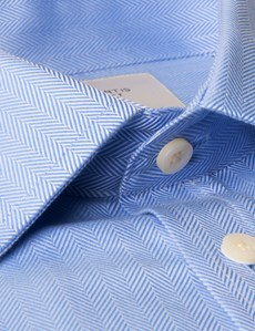Men's Blue Herringbone Classic Fit Dress Shirt - French Cuff - Easy Iron