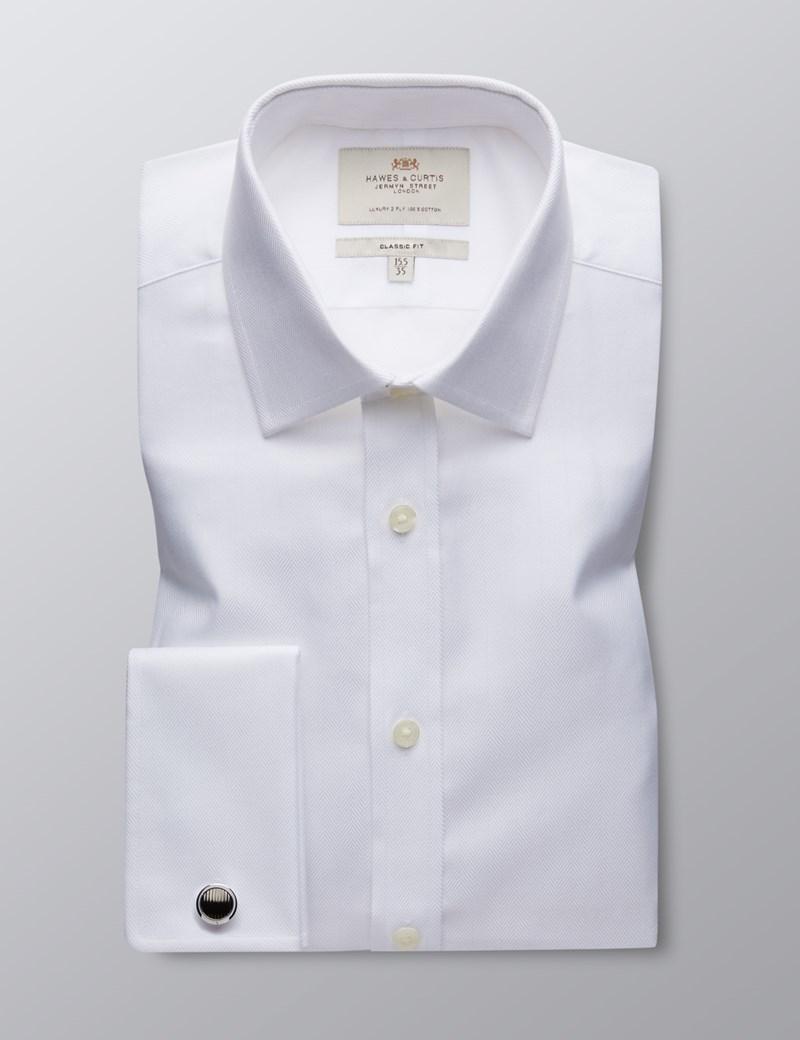 Men's Business White Herringbone Classic Fit Shirt - Double Cuff - Easy Iron
