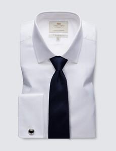 Men's Dress White Herringbone Classic Fit Shirt - French Cuff - Easy Iron