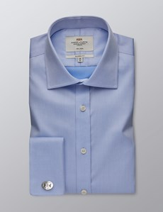 Men's Dress Blue Twill Classic Fit Shirt  - Double Cuff - Non Iron