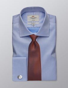 Men's Formal Blue Twill Classic Fit Shirt  - Double Cuff - Non Iron
