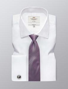 Men's Dress White Fine Twill Classic Fit Cotton Shirt - Non Iron - French Cuff