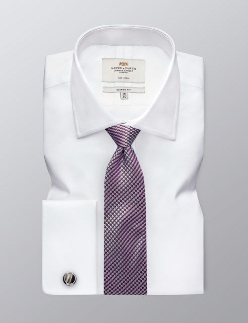 Men's Formal White Fine Twill Classic Fit Cotton Shirt - Non Iron - Double Cuff