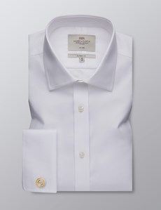 Men's Dress White Twill Classic Fit Shirt - Double Cuff - Non Iron