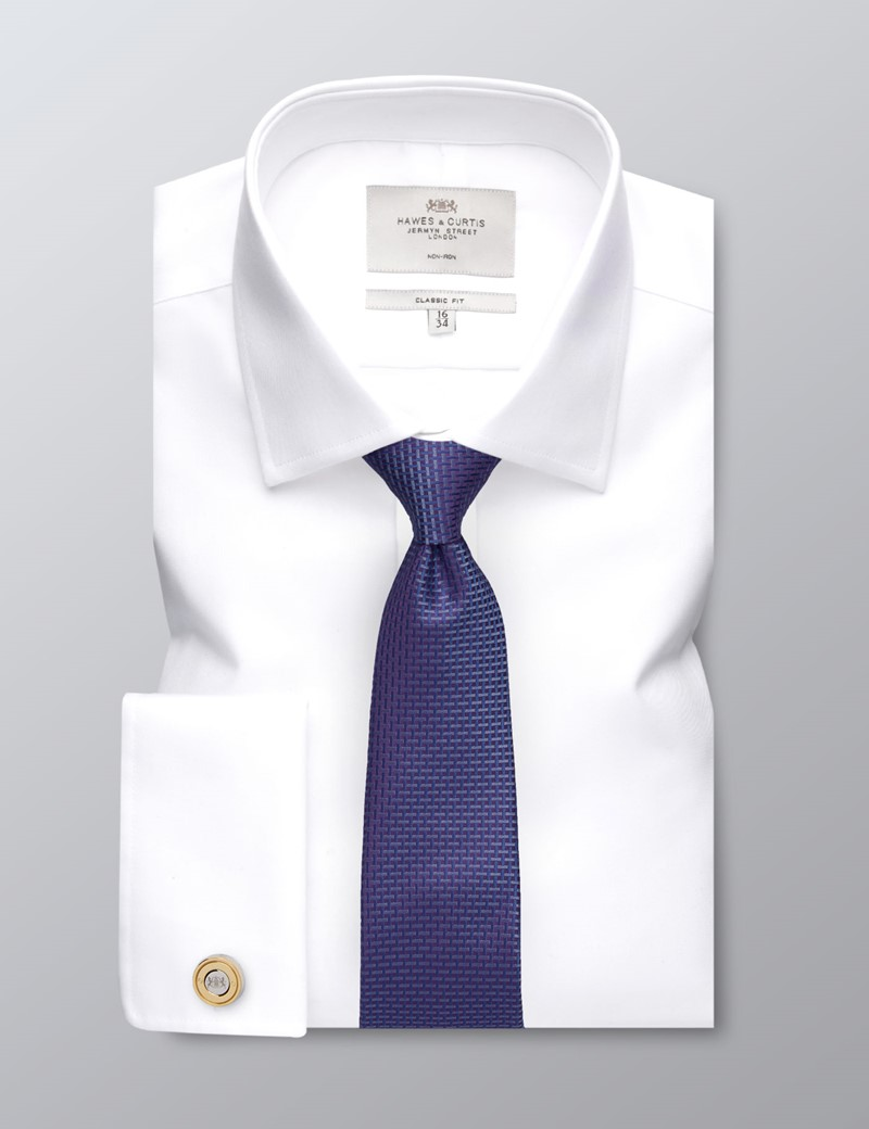 Men's Formal White Twill Classic Fit Shirt - Double Cuff - Non Iron