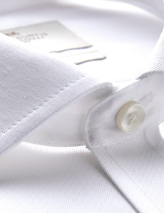 Men's Business White Twill Classic Fit Shirt - Double Cuff - Non Iron