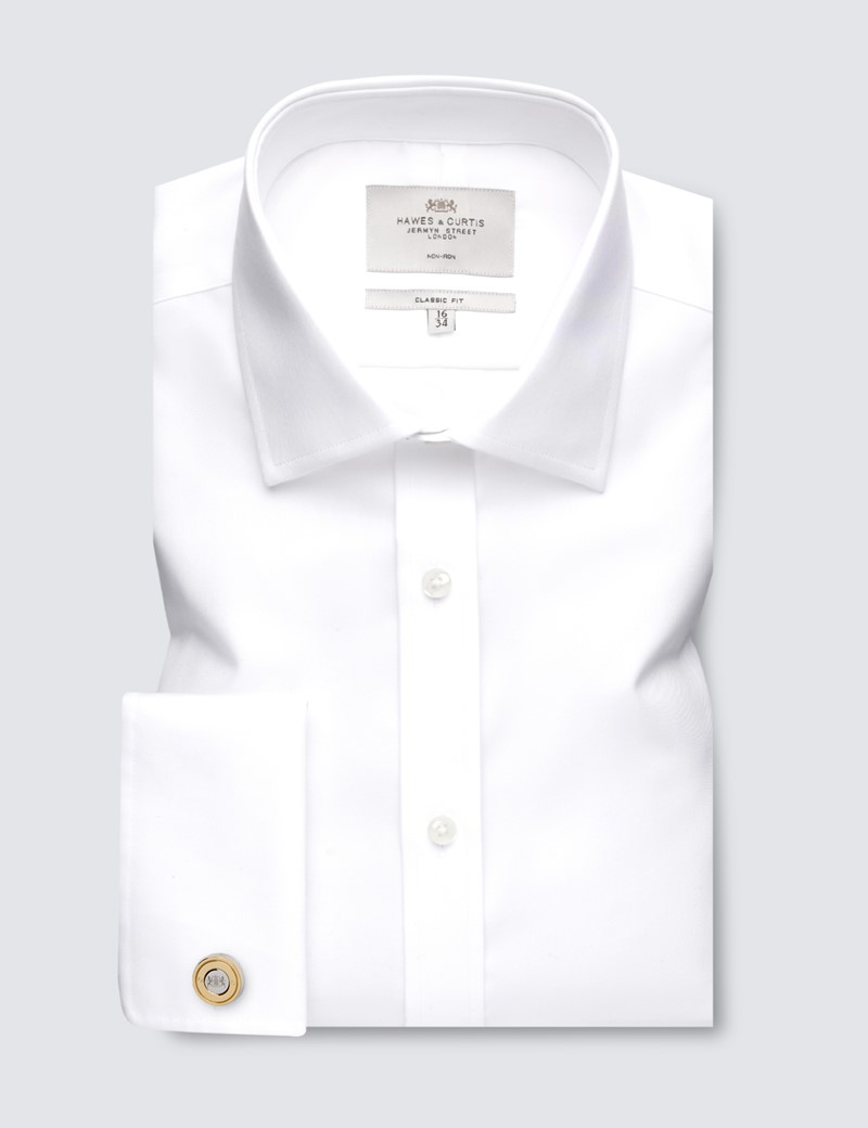 Men's Formal White Twill Classic Fit Shirt - Double Cuff - Non Iron