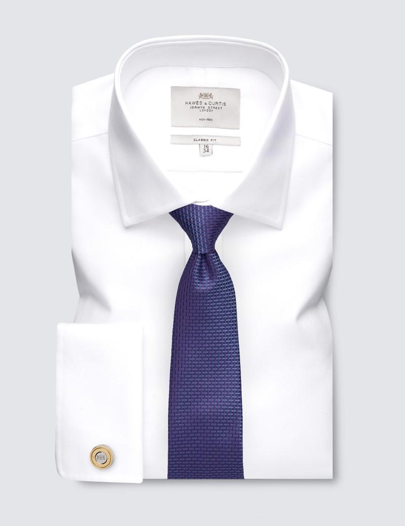 Men's Dress White Twill Classic Fit Shirt - Double Cuff - Non Iron