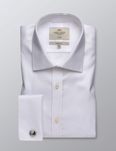 Men's Business White Fabric Interest Dobby Classic Fit Shirt - Double Cuff - Non Iron