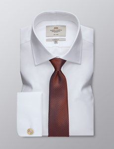 Men's Dress White Fabric Interest Classic Fit Shirt - French Cuff - Non Iron