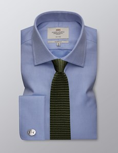 Men's Formal Blue Fabric Interest Classic Fit Shirt - Double Cuff - Non Iron