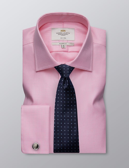 Men's Business Pink Classic Fit Shirt - Double Cuff - Non Iron