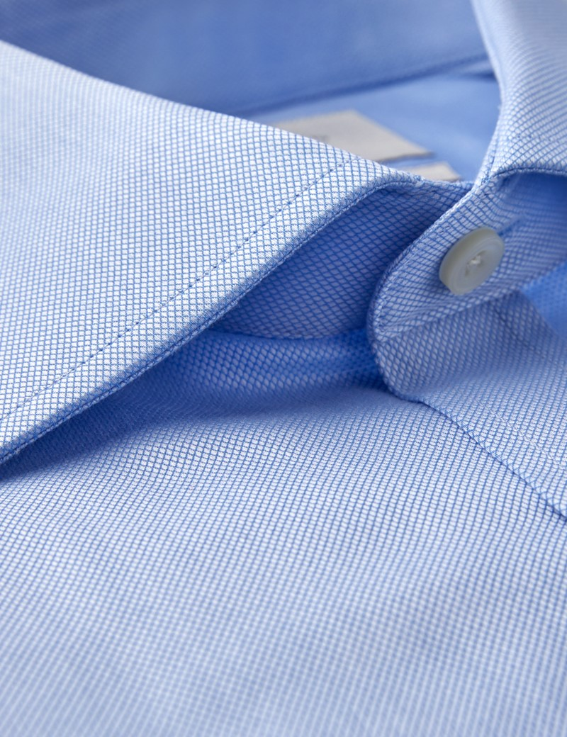 Men's Dress Blue Pique Classic Fit Shirt - French Cuff - Easy Iron