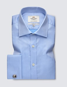 Men's Business Blue Pique Classic Fit Shirt - Double Cuff - Easy Iron