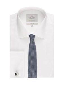Men's White Pique Classic Fit Dress Shirt - Double Cuff - Easy Iron
