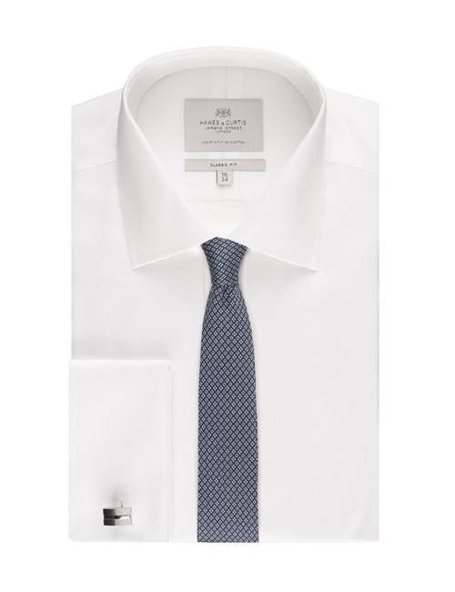 Men's White Pique Classic Fit Dress Shirt - Double Cuff - Easy Iron
