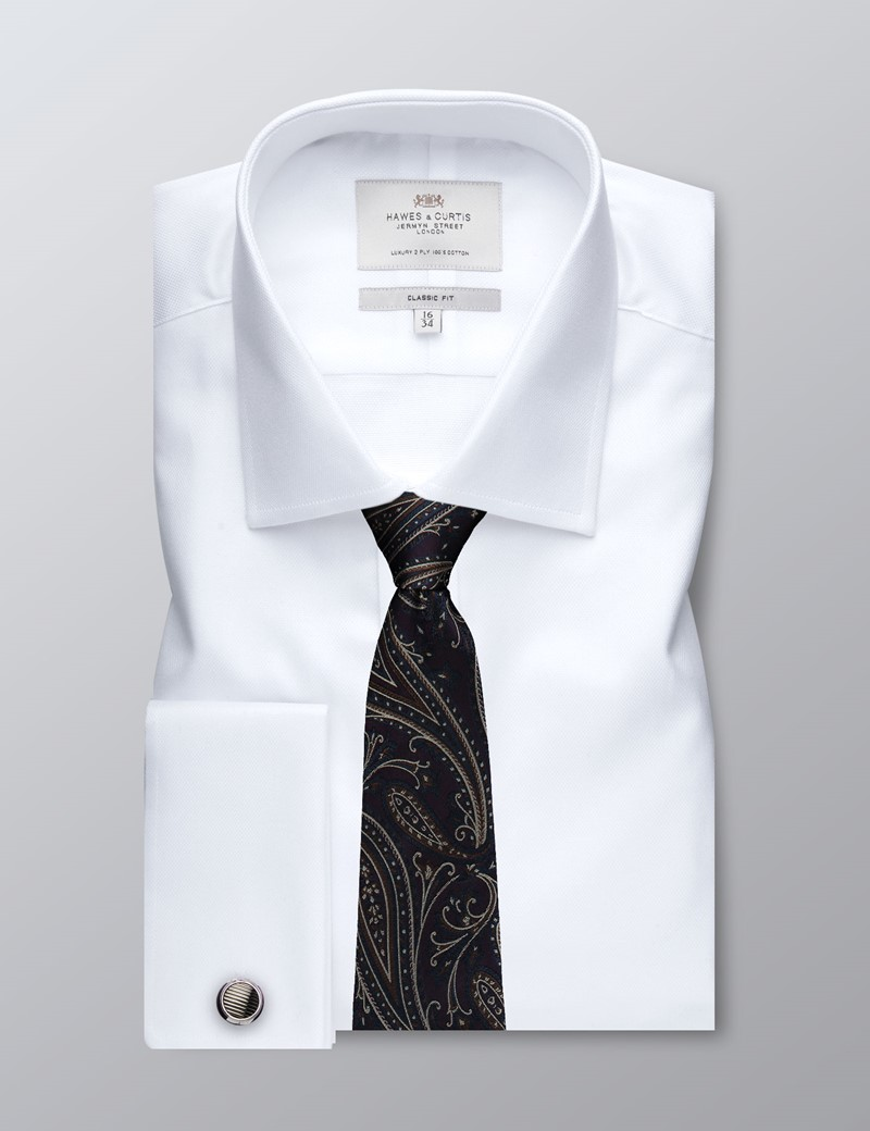 Men's Formal White Pique Classic Fit Shirt - Double Cuff - Easy Iron