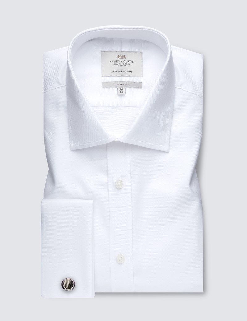Men's White Pique Classic Fit Business Shirt - Double Cuff - Easy Iron