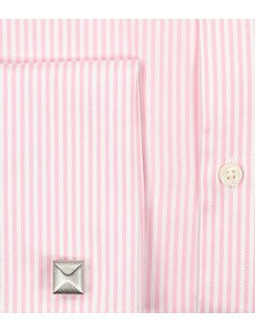 Men's Dress Pink & White Bengal Stripe Classic Fit Shirt - French Cuff - Easy Iron