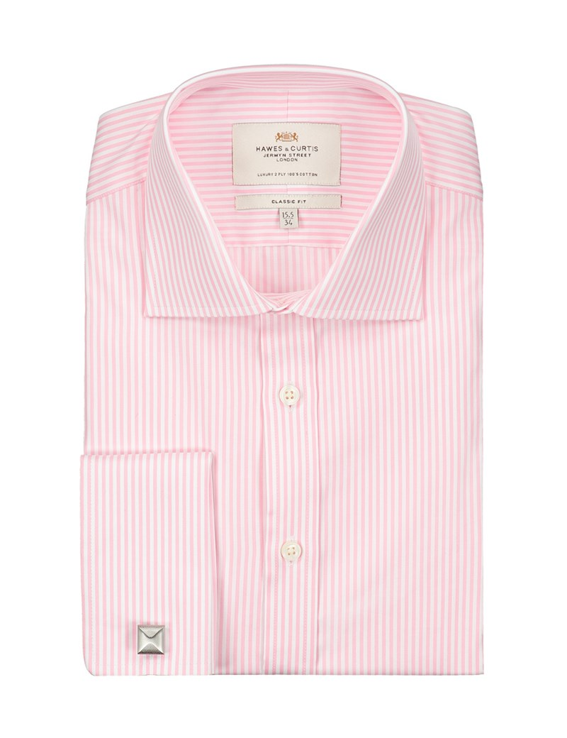 Men's Business Pink & White Bengal Stripe Classic Fit Shirt - Double Cuff - Easy Iron