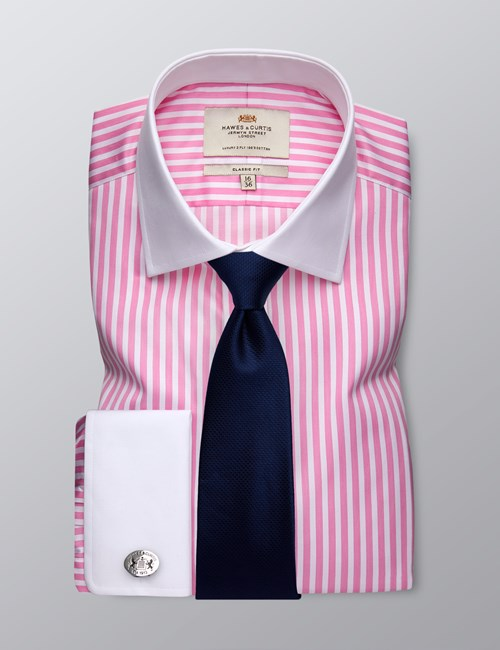 Men's Formal Pink & White Bengal Stripe Classic Fit Shirt - Double Cuff - Easy Iron