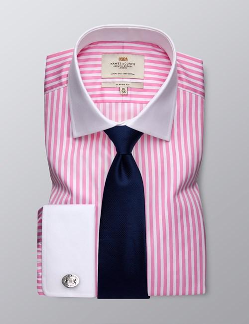 Businesshemd – Classic Fit – Manschetten – Bengalstreifen pink