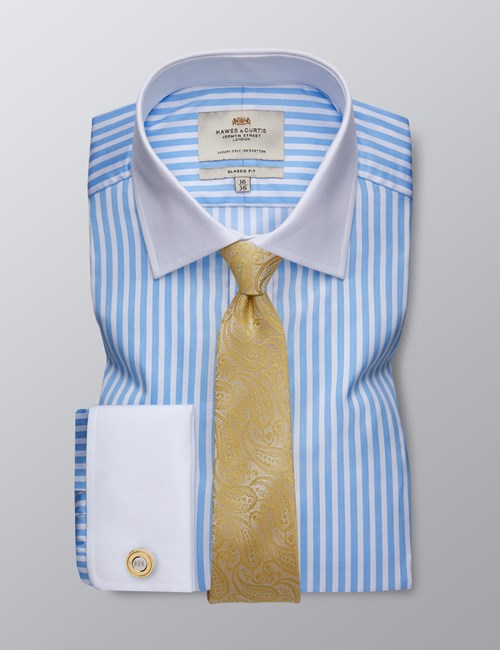 Men's Dress Blue & White Bengal Stripe Classic Fit Shirt - French Cuff - Easy Iron