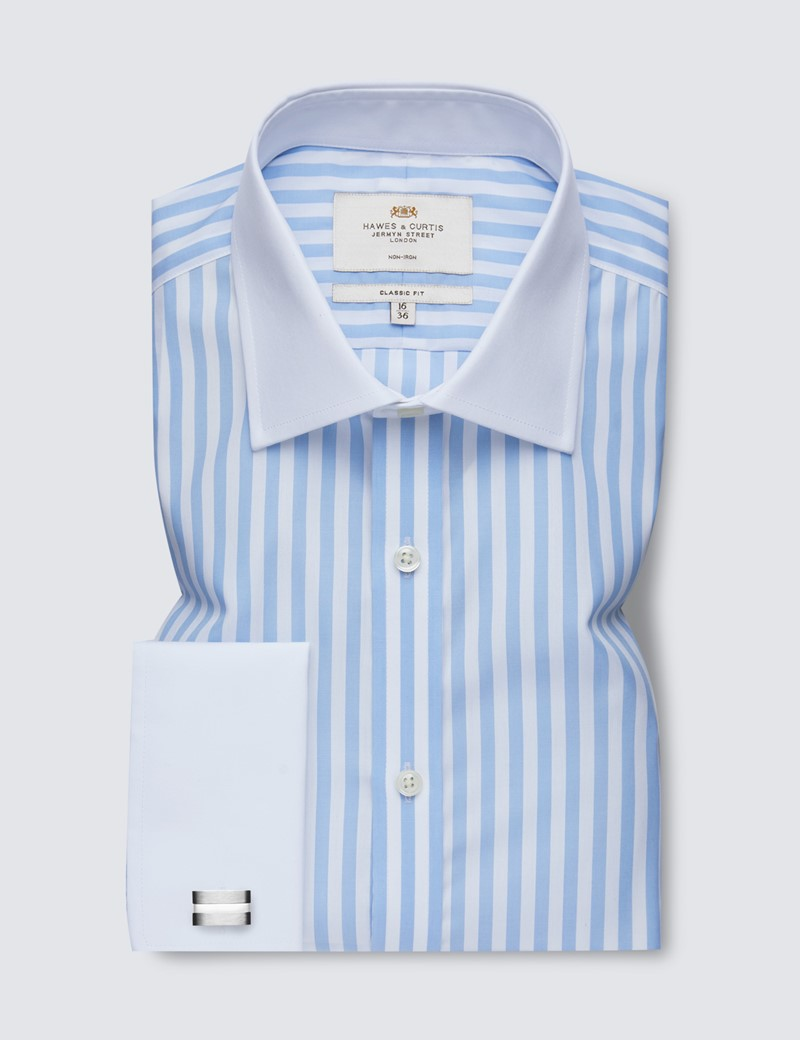 Men's Formal Blue & White Bold Stripe Classic Fit Shirt with White Collar and Cuff - Double Cuff - Non Iron