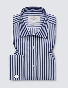 Non Iron Navy & White Bold Stripe Classic Fit Shirt - Semi Cutaway Collar - Double Cuffs