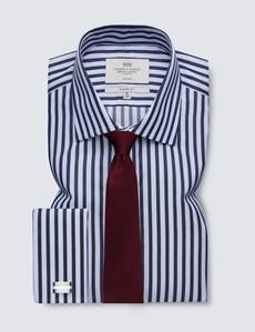 Bügelfreies Businesshemd - Classic Fit - Kentkragen - navy-weiß breite Streifen