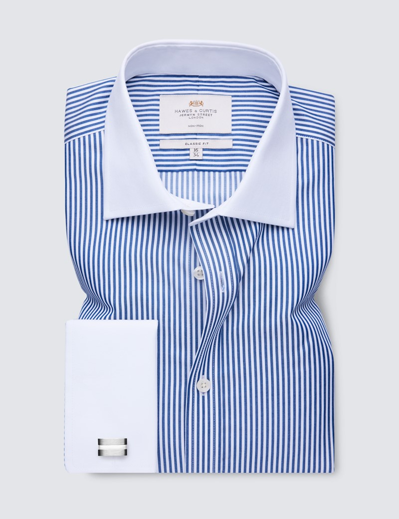 Non Iron Navy & White Bengal Stripe Classic Fit Shirt with White Collar and Cuffs
